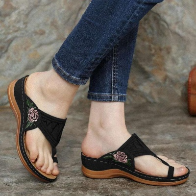 SD2133 Embroidery Orthopedic Comfy Flip Flop Sandals_4