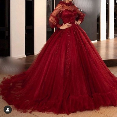 Elegant Prom Dresses With Long Sleeve | Red Ball Gowns Evening Gown_2