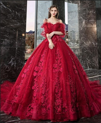 Hot Sale Red Long Sleeve Prom Dresses Lace Evening Gowns_2