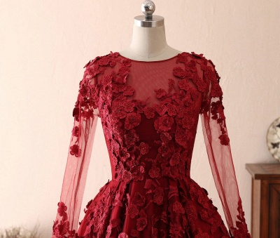 Chape Red Long Sleeve Prom Dresses With Lace_4
