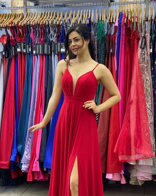 Simple Red Prom Dresses   Chiffon Long Evening Gowns_4
