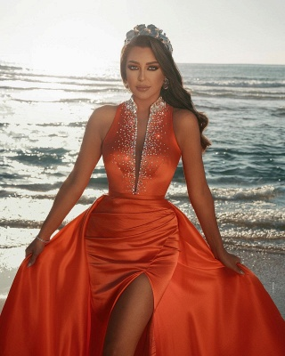 Orange Sparkly Long Prom Dresses | Sexy Evening Gowns_2