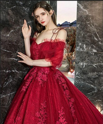 Hot Sale Red Long Sleeve Prom Dresses Lace Evening Gowns_5