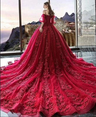 Hot Sale Red Long Sleeve Prom Dresses Lace Evening Gowns_6