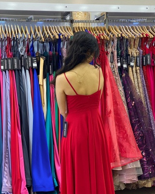 Simple Red Prom Dresses   Chiffon Long Evening Gowns_2