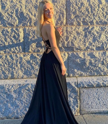 Black Prom Dresses Long Chiffon   Simple Evening Gowns_2