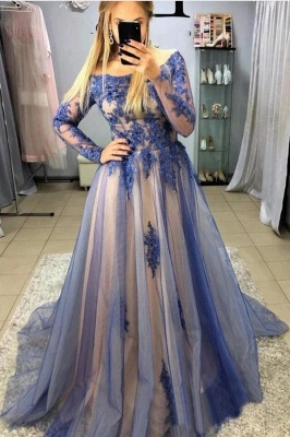Cheap Blue Evening Dress With Sleeve | Lace Long Prom Dresses
