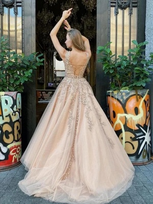 Gold Prom Dresses With Lace | Vintage Long Evening Gowns_2