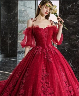 Hot Sale Red Long Sleeve Prom Dresses Lace Evening Gowns_4