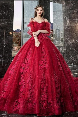 Hot Sale Red Long Sleeve Prom Dresses Lace Evening Gowns