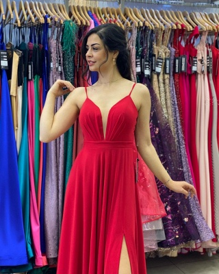 Simple Red Prom Dresses   Chiffon Long Evening Gowns_3