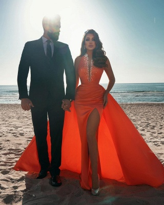 Orange Sparkly Long Prom Dresses | Sexy Evening Gowns_4