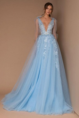 Cheap Sky Blue Prom Dresses | Lace Long Evening Gowns