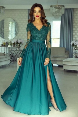 Green Long Prom Dresses | Lace Evening Dress With Sleeves