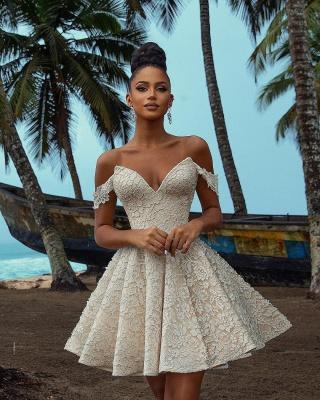 Simple Wedding Dresses Short   Lade Wedding Gowns_3