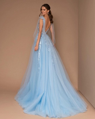Cheap Sky Blue Prom Dresses | Lace Long Evening Gowns_2