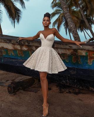 Simple Wedding Dresses Short   Lade Wedding Gowns_2