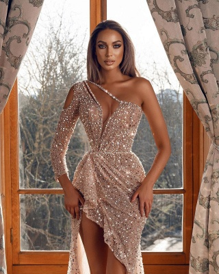 Sparkly Prom Dresses Hi Low Sequined Evening Gowns_2