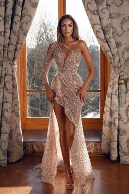 Sparkly Prom Dresses Hi Low Sequined Evening Gowns