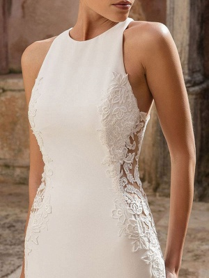 Vintage Wedding Dress Lycra Spandex Jewel Neck Sleeveless Lace Mermaid Bridal Gowns_3