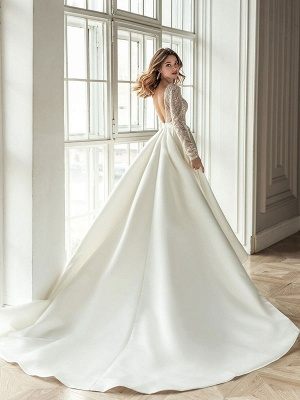Cheap Wedding Dress With Train A Line V Neck Long Sleeves Lace Bridal Dresses_2