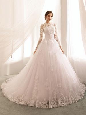 Bridal Dresses 2021 Princess Silhouette Bateau Neck Long Sleeve Natural Waist Lace Tulle Wedding Gowns_3