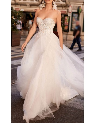 Vintage Wedding Dress Tulle Sweetheart Neck Sleeveless A Line Lace Flora Bridal Gowns With Train_1