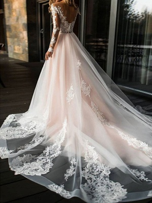 A Line Wedding Dresses V Neck Long Sleeve Lace Applique Tulle Bridal Gowns With Chapel Train_2