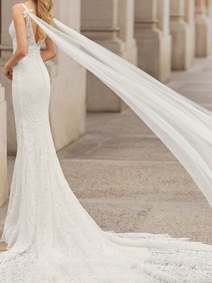 Lace Wedding Dress With Train Mermaid Sleeveless Lace Tulle V-Neck Wedding Gowns_2