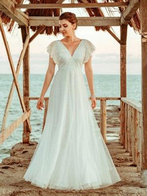 Cheap Wedding Dresses 2021 A Lne V Neck Short Sleeve Floor Length Tulle Beach Wedding Party Dresses Bridal Gowns_4
