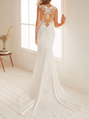 Cheap Wedding Dresses Mermaid Chiffon Jewel Neck Sleeveless Floor Length Beach Bridal Gown With Court Train_2