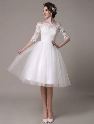 Lace Bridal Dresses 2021 Short Off The Shoulder A Line Knee Length Waist Rhinestone Bridal Dress Exclusive_3