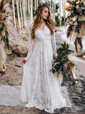 Wedding Gowns With Train V-Neck Long Sleeves Floor-Length Ivory Lace Wedding Gowns_1