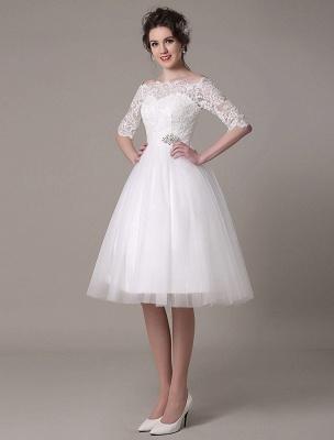Lace Bridal Dresses 2021 Short Off The Shoulder A Line Knee Length Waist Rhinestone Bridal Dress Exclusive_5