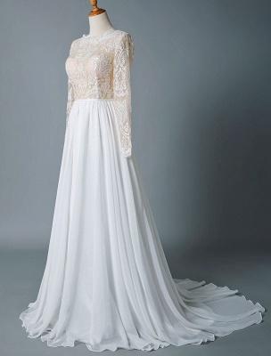 Boho Bridal Dresses 2021 Jewel Neck Long Sleeve A Line Floor Length Chffion Bridal Dress For Beach Wedding_4