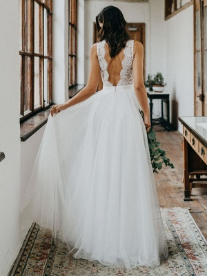 Cheap Wedding Dresses Tulle A Line V Neck Sleeveless Lace Floor Length Bridal Gowns_2