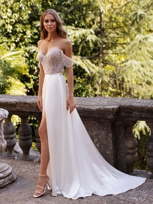 White Cheap Wedding Dresses Satin Fabric Strapless Sleeveless Cut Out A-Line Off The Shoulder Long Bridal Gowns_3