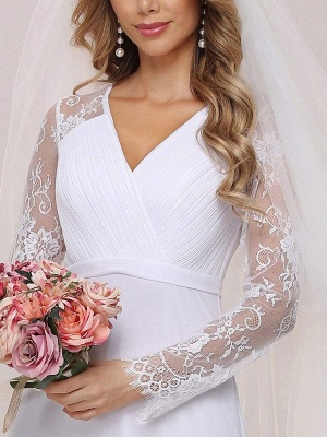 White Simple Wedding Dress Lace V-Neck Long Sleeves Lace Chiffon Pleated A-Line Long Bridal Gowns_7