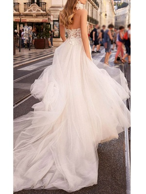 Vintage Wedding Dress Tulle Sweetheart Neck Sleeveless A Line Lace Flora Bridal Gowns With Train_2
