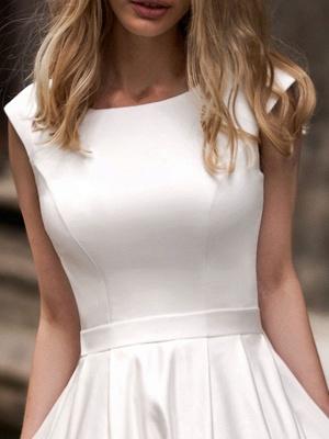 Vintage Wedding Dress 2021 A Line Bateau Neck Sleeveless Floor Length Satin Bridal Gown_4