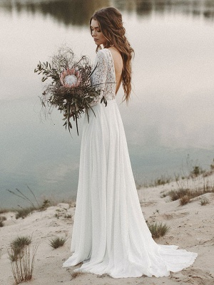 Cheap Wedding Dresses A Line V Neck Long Sleeve Floor Length Chiffon Lace Beach Wedding Dresses_2