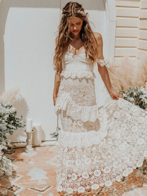 Boho Wedding Dress 2021 Off The Shoulder Floor Length Multilayer Lace Wedding Gowns_3