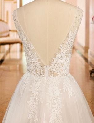 Vintage Wedding Dress 2021 A Line V Neck Straps Sleeveless Lace Appliqued Tulle Bridal Gown_8