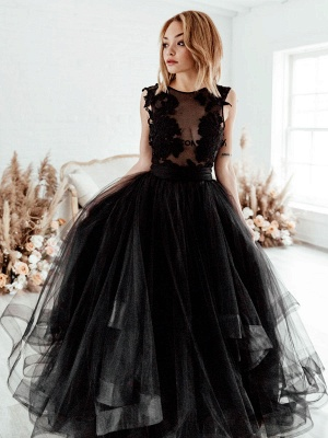 Black Bridal Dress A-Line Illusion Neckline Sleeveless Backless Applique Floor-Length Lace Tulle Bridal Gowns_1