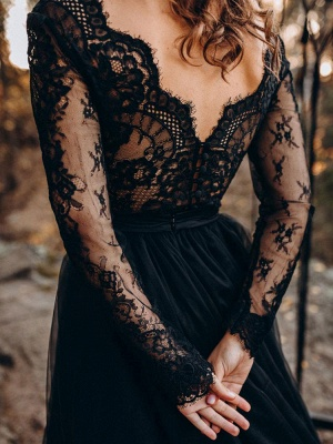 Black Bridal Dresses A-Line Designed Neckline Long Sleeves Natural Waistline Tulle Lace Sweep Bridal Gown_4