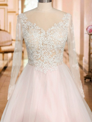 A Line Wedding Dresses V Neck Long Sleeve Lace Applique Tulle Bridal Gowns With Chapel Train_6
