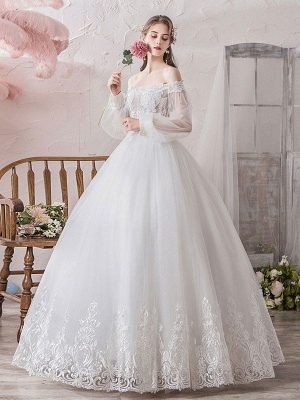 Princess Wedding Gowns 2021 Ball Gown Silhouette Off The Shoulder Long Sleeves Natural Waist Floor-Length Bridal Gowns_2