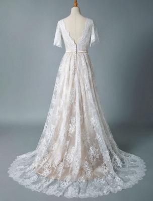 Cheap Wedding Dress 2021 V Neck A Line Short Sleeve Deep V Backless Lace Wedding Gowns_6
