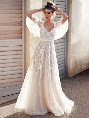White Lace Wedding Dresses V Neck A-Line Wedding Dresses Short Sleeves Backless Bridal Gowns_3