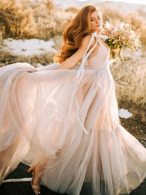 Maternity Wedding Gowns Light Grey V-Neck Sleeveless Tulle Long Bridge Gowns With Train_3